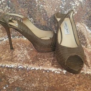 Jimmy Choo green snakeskin peep toe stiletto heels